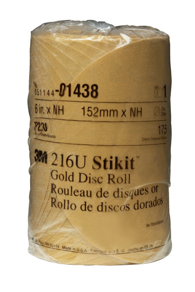 """14383m 6"""" Nh 220a Stikit Gold Discgold Disc Roll, 014386 In, P220175 Disc Per Roll6 Rolls Per Case3M 6X NH 220A Stikit Gold Disc Roll, 01438, 6 in, P220, 175 discs per roll, 6 rolls per case"""