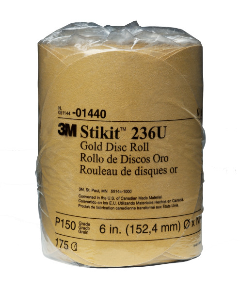 14403m 6x Nh 150a Stikit Gold Discgold Disc Roll, 014406 In, P150175 Discs Per Roll6 Rolls Per Case3M Stikit Gold Disc Roll, 01440, 6 in, P150, 175 discs per roll, 6 rolls per case