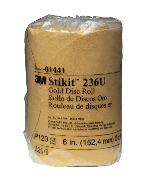 14413m 6x Nh 120a Stikit Gold Discgold Disc Roll, 014416 In, P120125 Discs Per Roll10 Rolls Per Case3M Stikit Gold Disc Roll, 01441, 6 in, P120, 125 discs per roll, 10 rolls per case
