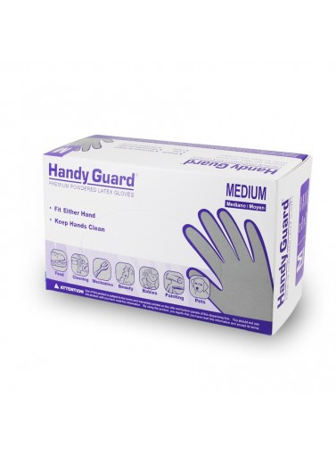 Hgpmhandy Guard Latex Gloves (p)size Medium; Powdered Latex3.8 MilHANDY GUARD LATEX GLOVES (P)