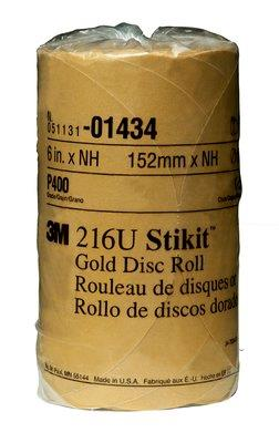 """014343m Stikit Gold Disc 6"""" P400gold Disc Roll, 014346 In, P400175 Discs Per Roll6 Rolls Per Case3M Stikit Gold Disc Roll, 01434, 6 in, P400, 175 discs per roll, 6 rolls per case"""