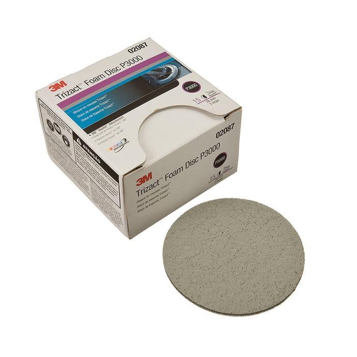 020873m Trizact Hookit Foam Disc Foam Disc, 020873in, P300015 Discs Per Carton4 Cartons Per Case3M Trizact Hookit Foam Disc,02087, 3 in, P3000, 15 discs per carton, 4 cartons per case